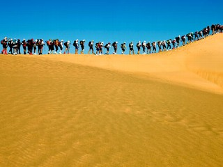 PHOTO: Competitors are forced to run single file on the top of giant sand dune during Racing The Planet's seven day self-supported ultramarathon in the Sahara Desert in Egypt in 2009.