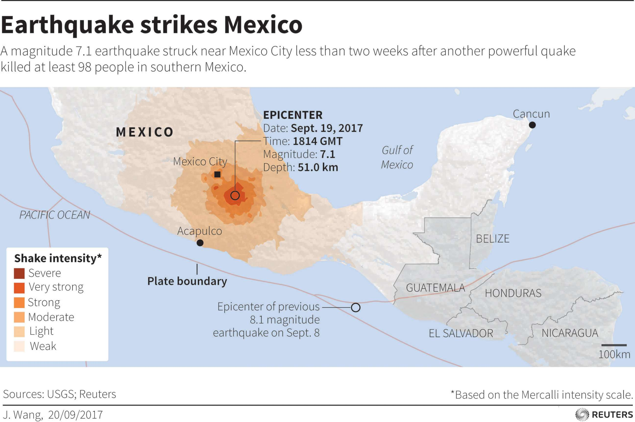 Photo Map Locating Earthquake That Struck Mexico On September 19