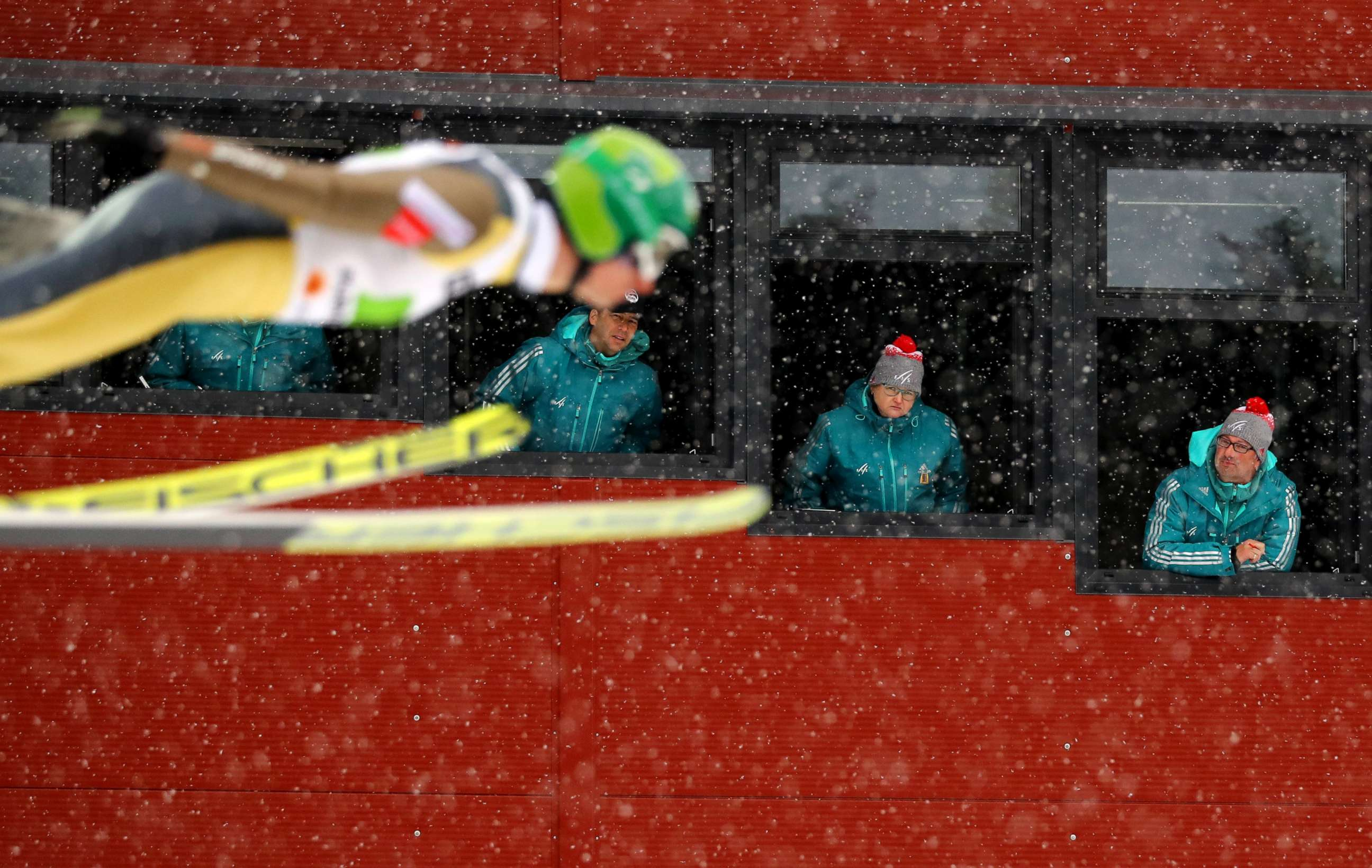 Image result for Judges watch Hannu Manninen of Finland in the Men's Nordic Combined Team Ski Jumping during the FIS Nordic Ski World Championships in Lahti, Finland, Feb. 26, 2017.
