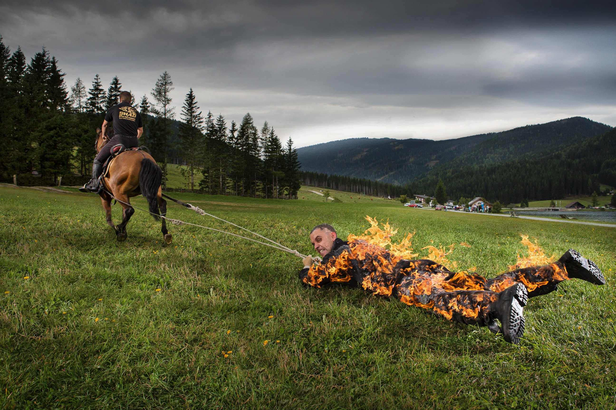 josef todtling has made it into the 2017 guinness book of world records for longest distance pulled by a horse for full body burn
