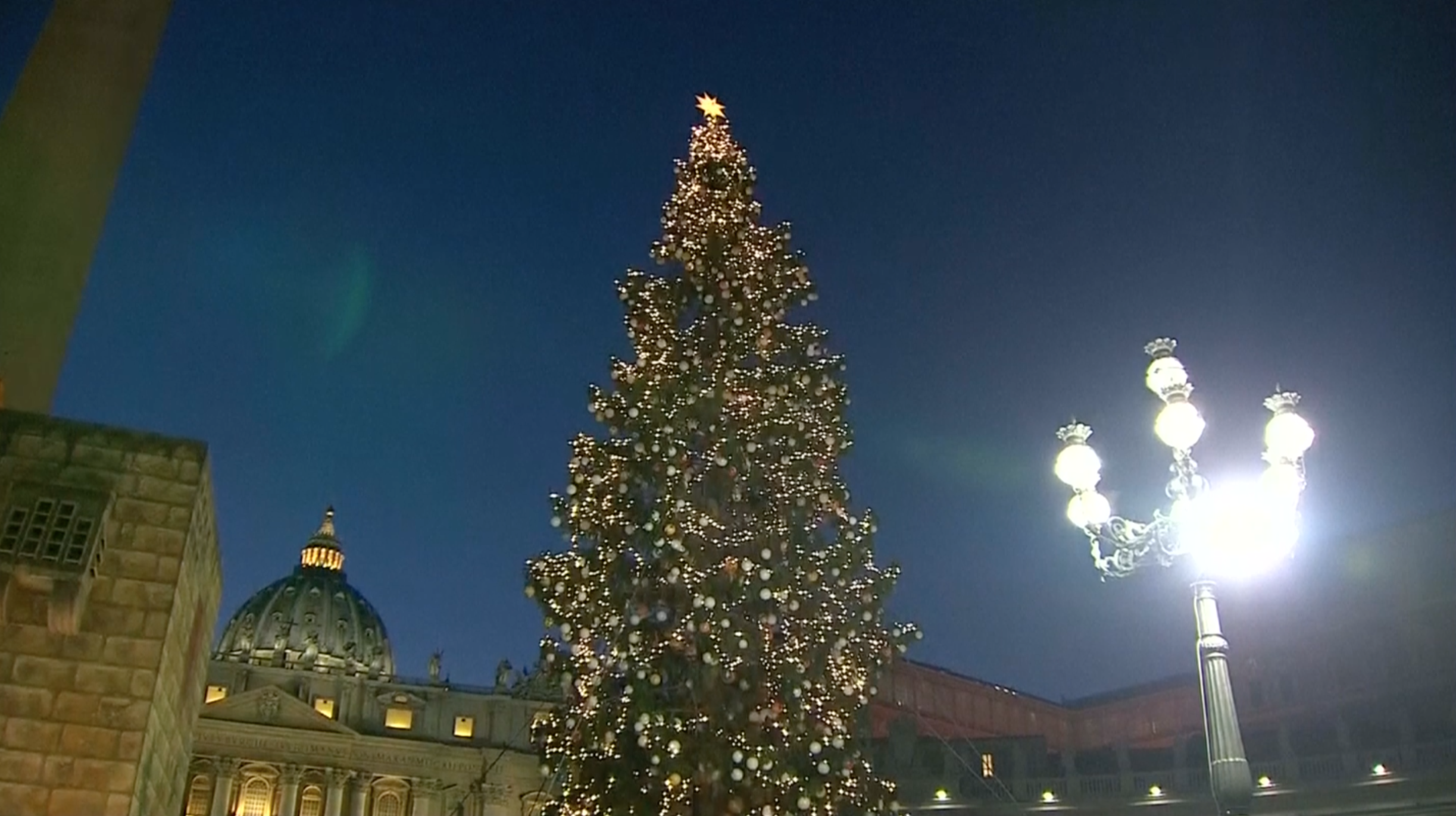 Vatican Christmas Ornaments Part - 17: Vatican Christmas Tree Is Lit In St. Peteru0027s Square, Adorned With Ornaments  Made From Sick Children Across Italy And The Nativity Scene Includes A  Spire ...