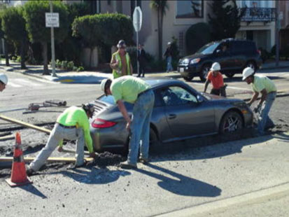 abc porsche stuck in cement thg 120220 main Impatience Slows Porsche Driver to a Halt