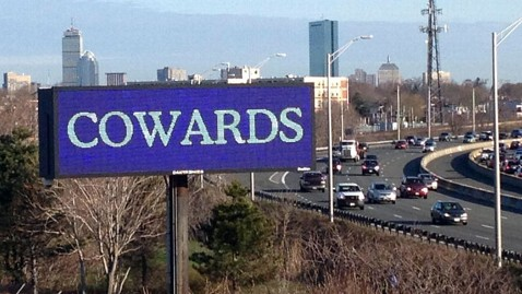 ht boston billboard nt 130418 wblog Cowards Billboard Lights Up Boston Skyline in Wake of Blasts