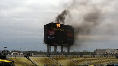 ht columbrus crew scoreboard fire jt 130428 wblog Instant Index: Soccer Match Heats Up as Scoreboard Catches Fire