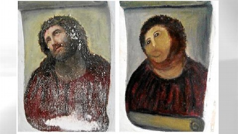ht spanish painting jesus badly restored thg 120822 wblog Elderly Woman Ruins 19th Century Fresco in Restoration Attempt