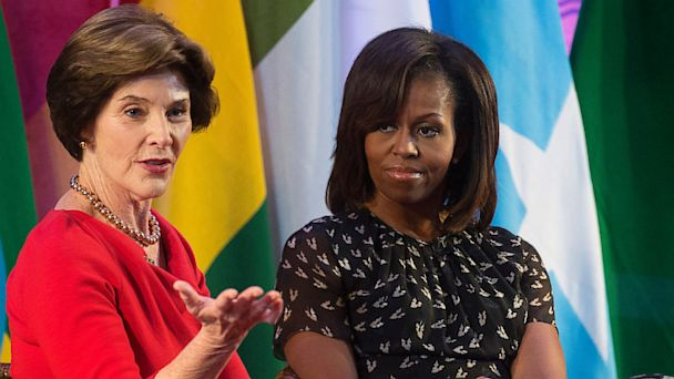 GTY Laura Bush Michelle Obama jef 130702 16x9 608 Michelle Obama, Laura Bush Bemoan Focus on Their Looks, Not Their Work