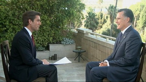 abc david muir mitt romney jerusalem jt 120729 wblog Romney on London: I Tell People What ... I Believe