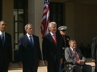VIDEO: Former presidents Jimmy Carter, Bill Clinton and George H.W. Bush join Bush-43 and President Obama for ceremony.
