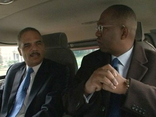 PHOTO: Attorney General Eric Holder, left, and Supreme Court Justice Clarence Thomas, right, are seen in this undated screengrab.