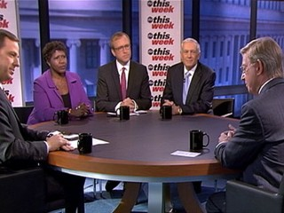 PHOTO: Jake Tapper with Roundtable guests ABC News' George Will, Fox News Contributor and Co-Founder, Keep America Safe Liz Cheney, Former NATO Supreme Allied Commander Europe Ret. General Wesley ...