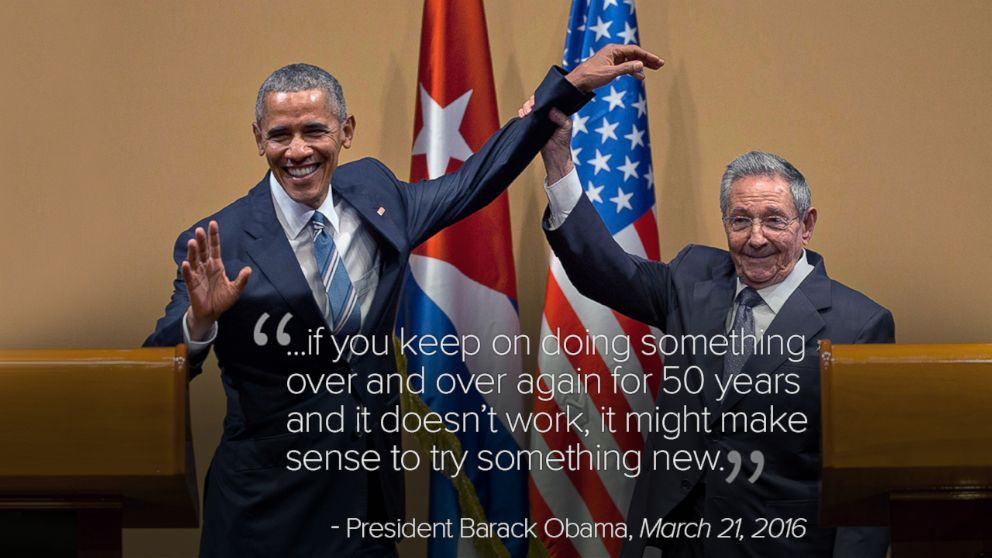 PHOTO: Cuban President Raul Castro lifts the arm of President Barack Obama at the conclusion of their joint news conference at the Palace of the Revolution, in Havana, Cuba, March 21, 2016.