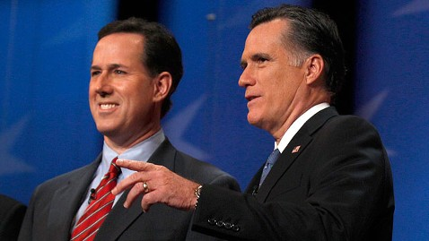 ap Mitt Romney Rick Santorum jt 120108 wblog Mitt Romney Unloads First Attacks on Rick Santorum Before N.H. Primary