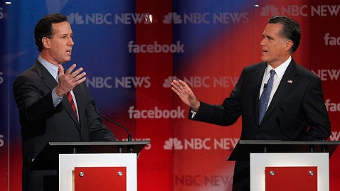 ap Republican Debate Mitt Romney Rick Santorum jt 120108 wblog Gingrich Blasts Romney for Pious Baloney, Rivals Sharpen Attacks at Second N.H. Debate