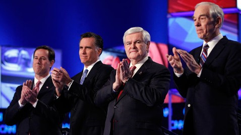 ap Republicans Debate Santorum Romney Gingrich Paul 120121 wblog Newt Gingrichs Turn to Shine; Credit the Debates in South Carolina