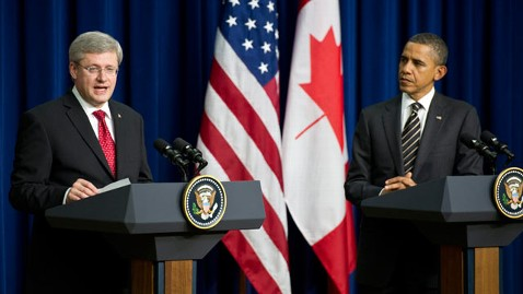 ap Stephen Harper barack obama thg 111207 wblog Obama Rejects GOP Bid to Tie Payroll Tax Cut to Keystone Pipeline Approval