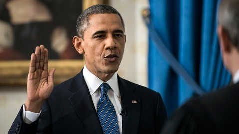 ap barack obama inaugural swearing jt 130120 wblog Obamas Favorability Best Since 09; 2 1 Approval for Inaugural Address