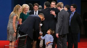 ap barack obama romney family gesture ssmain lpl 121022 wn Presidential Debate: Fact Check and Live Blog