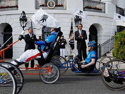 ap barack obama wounded warrior ride ll 120420 main Wounded Veteran Cyclists Ride to White House