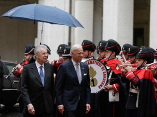 PHOTO: Vice President Joe Biden, right, and Italian Premier Mario Monti review the honor guard at Rome's Chigi palace Premier's office, March 18, 2013. Joe Biden will lead the U.S. delegation to ...