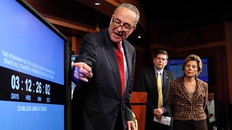 ap charles schumer transportation bill countdown clock ll 120328 wblog Senate Democrats Unveil a Countdown Clock   Claiming Threat of Government Transportation Shutdown