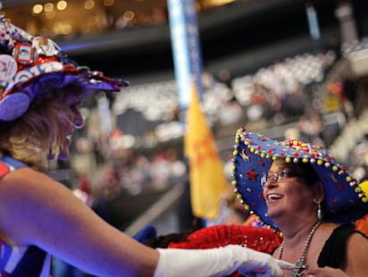 ap dnc crazy attire 01 jef ssm 120905 main Live Blog: Democratic National Convention 2012; Day 2   Bill Clinton, Elizabeth Warren
