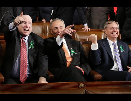 ap mccain schumer graham green ribbon ss lpl 130212 ssh LIVE UPDATES: 2013 State of the Union Address