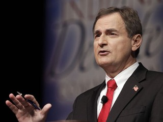 PHOTO: Republican Richard Mourdock, candidate for Indiana's U.S. Senate seat, participates in a debate with Democrat Joe Donnelly and Libertarian Andrew Horning in New Albany, Ind., Tuesday, Oct. 23, ...