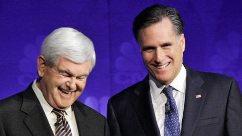 ap newt gingrich mitt romney debate ll 111108 wblog Romney Makes Not so Subtle Jab at Gingrichs Personal History in New Ad
