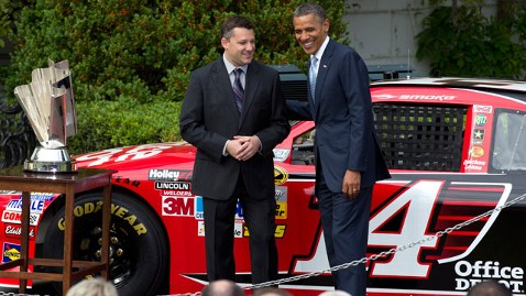 ap obama nascar2 thg 120417 wblog Obama Hails NASCAR Champ Smoke Tony Stewart