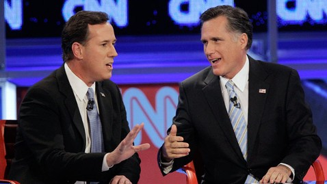 ap rick santorum mitt romney ll 120222 wblog Romney Pounces on Santorum for Voting Against His Principles