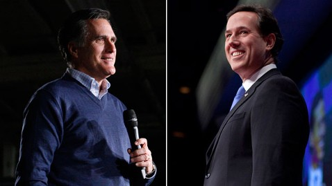 ap romney santorum nt 120213 wblog Rick Santorum Unveils Michigan Ad Accusing Mitt Romney of Mud Slinging