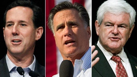 ap santorum romney gingrich triptic thg 120313 wblog Santorum Says Gingrich Cutbacks Prove Its a Two Person Race