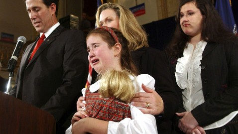ap sarah maria crying nt 120120 wblog Sarah Maria Santorum, Famous for 2006 Crying Photo, Hits Campaign Trail