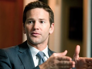 PHOTO: Rep. Aaron Schock, R-Ill., is interviewed by Roll Call in his Longworth office, Feb. 2, 2012.