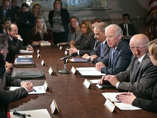 PHOTO: Vice President Joe Biden makes brief remarks to the press at the beginning of a meeting with U.S. Attorney General Eric Holder and gun violence survivors and victims and gun safety advocacy ...