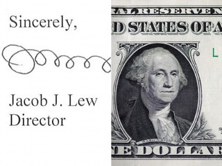 PHOTO: Jacob Lew's signature and a one dollar bill.