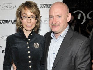PHOTO: Former Arizona Rep. Gabrielle Giffords and her husband retired astronaut Mark Kelly arrive at the grand opening of SHe by Morton's at Crystals at CityCenter, Feb. 2, 2013 in Las Vegas.