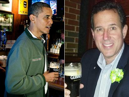 gty ht barack obama rick santorum jt 120317 main On St. Patricks Day, Beer Is Bipartisan