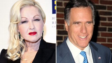 gty lauper romney tk 120117 wblog Cyndi Lauper Upset True Colors Was Used in Romney Attack Ad