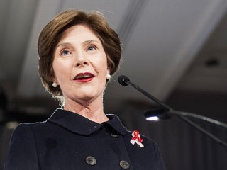 PHOTO: Former First Lady Laura Bush speaks during the 2013 Susan G. Komen Global Women's Cancer Summit on World Cancer day at the Fairmont Hotel, Feb. 4, 2013 in Washington, DC.