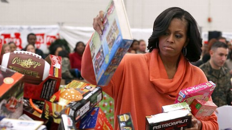 gty michelle obama toys tots nt 121211 wblog Michelle Obama Collects Toys for Tots With Marine Corps