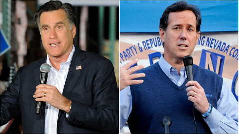gty mitt romney rick santorum thg 120208 wblog Can Romney Make Earmark Attacks Stick on Santorum?