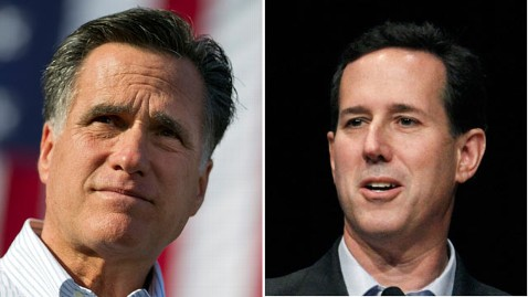 gty mitt romney santorum split thg 120313 wblog Lopsided Illinois Primary: Santorum Faces 7 to 1 Spending Disadvantage Against Romney Forces