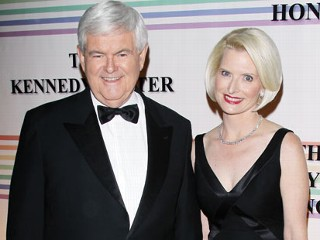 PHOTO: Newt Gingrich and wife, Callista Gingrich arrive at the 34th Kennedy Center Honors held at the Kennedy Center Hall of States in this Dec. 4, 2011 file photo in Washington, DC.