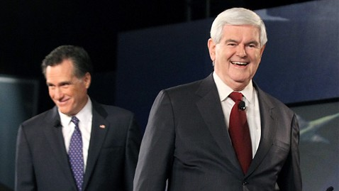 gty newt gingrich mitt romney ll 111114 wblog Gingrich Rises in Polls to Virtual Tie With Romney