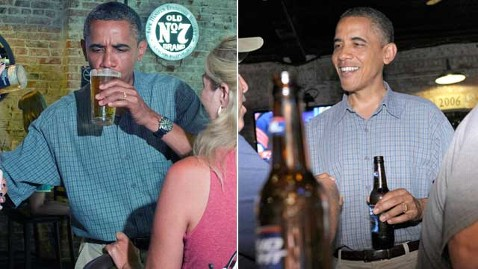 gty obama drinking miller bud thg 120706 wblog Miller and Bud: Obama Team Orchestrates Bus Tour Optics