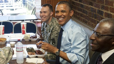 gty obama kennys bbq thg 120613 wblog Obama Celebrates Fathers Day With BBQ Lunch