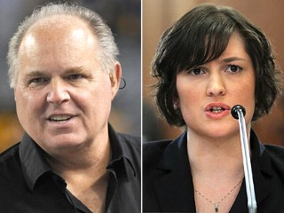 PHOTO: Political commentator Rush Limbaugh, left, and Sandra Fluke, a third-year law student at Georgetown University and former president of the Students for Reproductive Justice group there, are ...