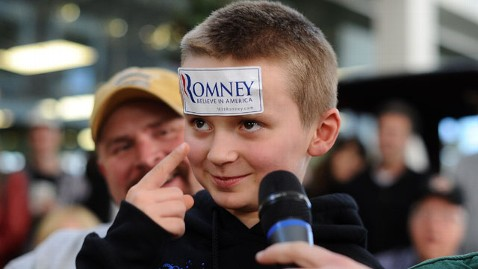 gty young romney supporter jef 111229 wblog Too Young to Vote, Children Shape Telling Moments of Romneys Campaign