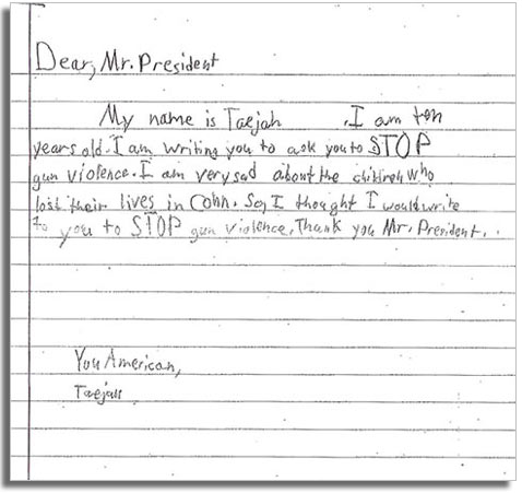 ht 2 taejah dm 130116 vblog Kids Write Letters to Obama on Gun Control